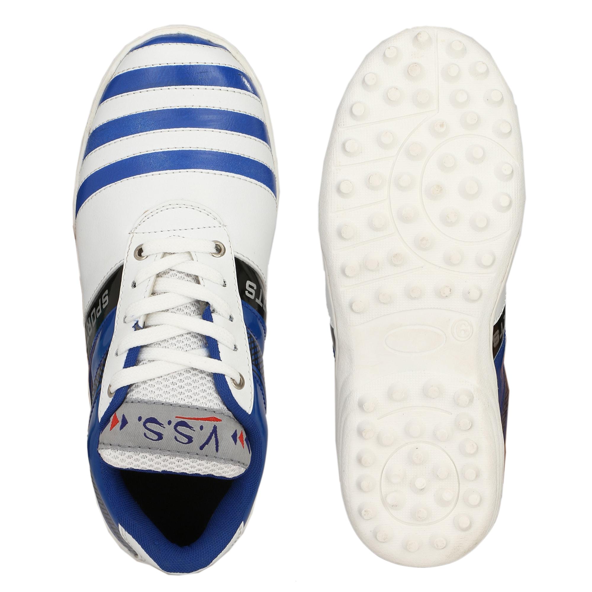 VSS Men's Blue Synthetic Leather Cricket Sports Shoes BCK047-BLUE (Blue,6-10,8 PAIR)