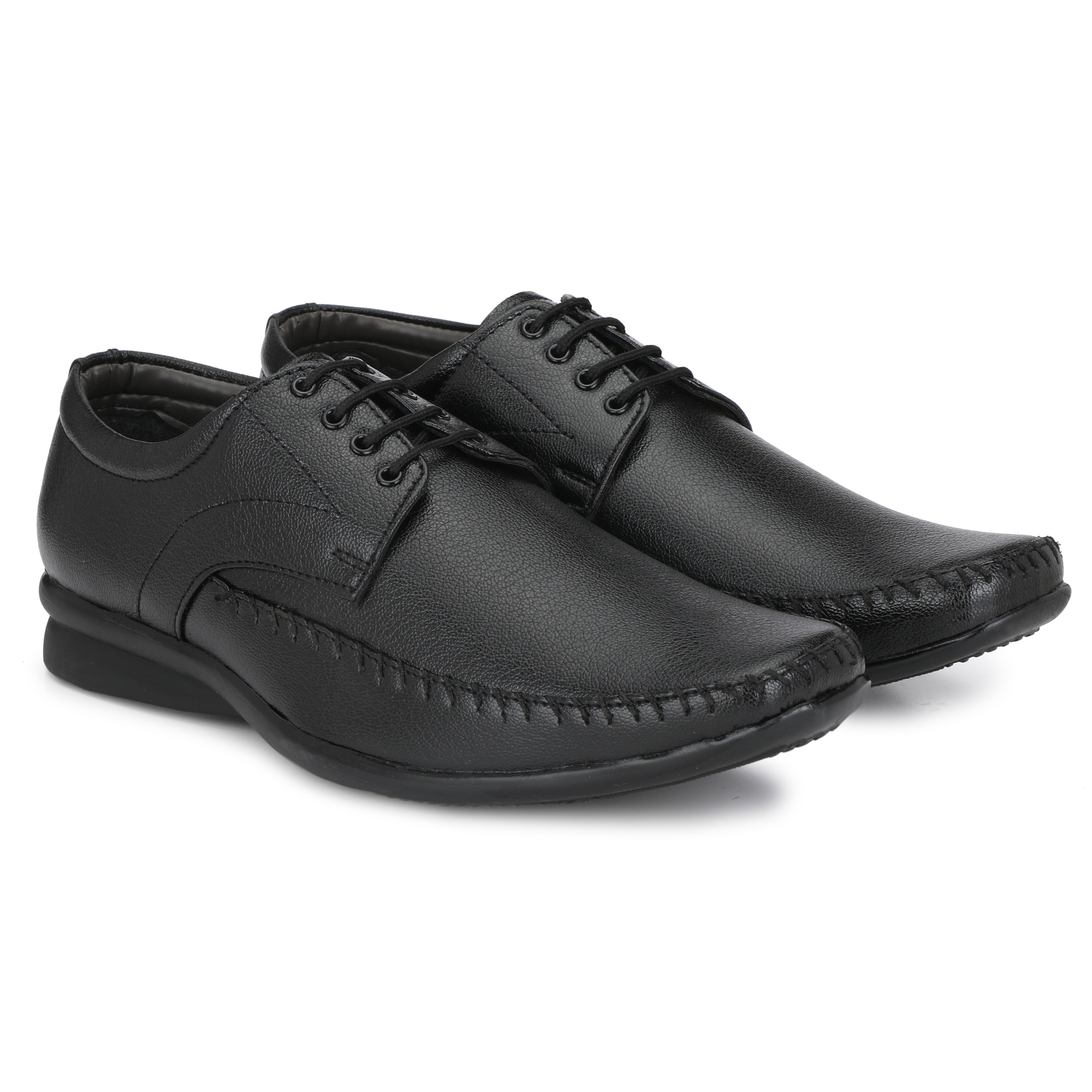 BUCIK Men's BLACK Synthetic Leather Formal Shoes BCK1061-BLACK (Black,6-10,8 PAIR)