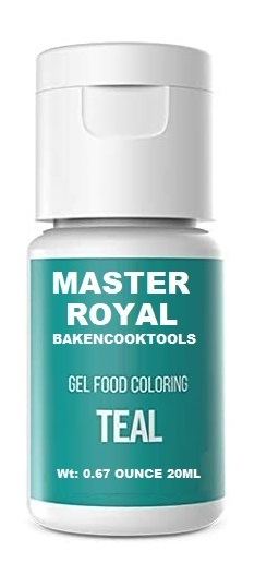 Master Royal Backncook Tools Concentrated Gel Food Colour (Pack Of 5) Green/Orenge/Teal/Red/Brown