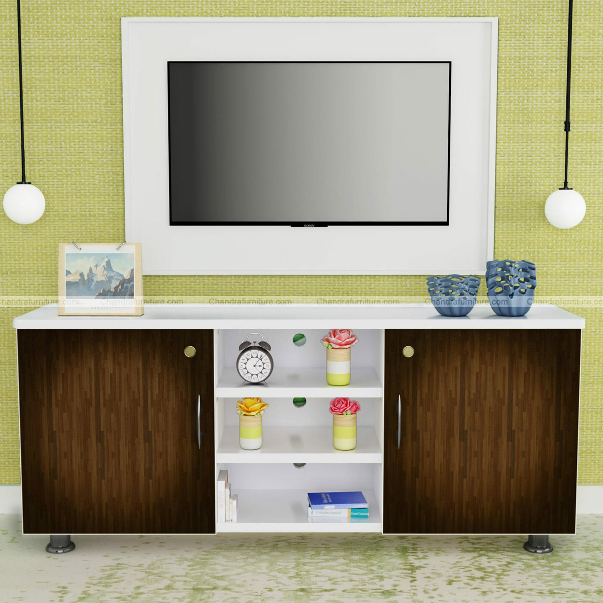 Chandra Furniture TV Unit In Wenge Finish By HomeTown