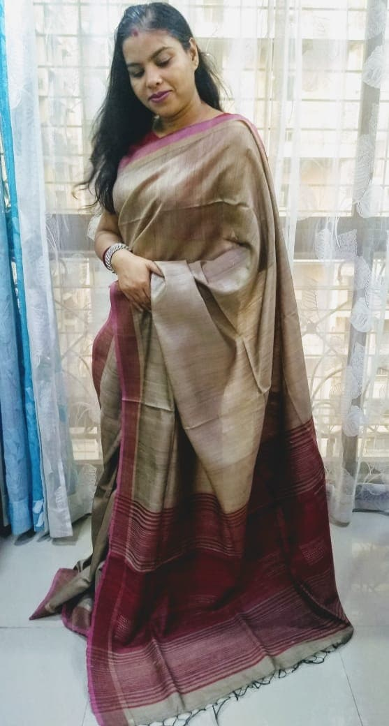 Handoven Tussar Silk With Zari Border Sarees