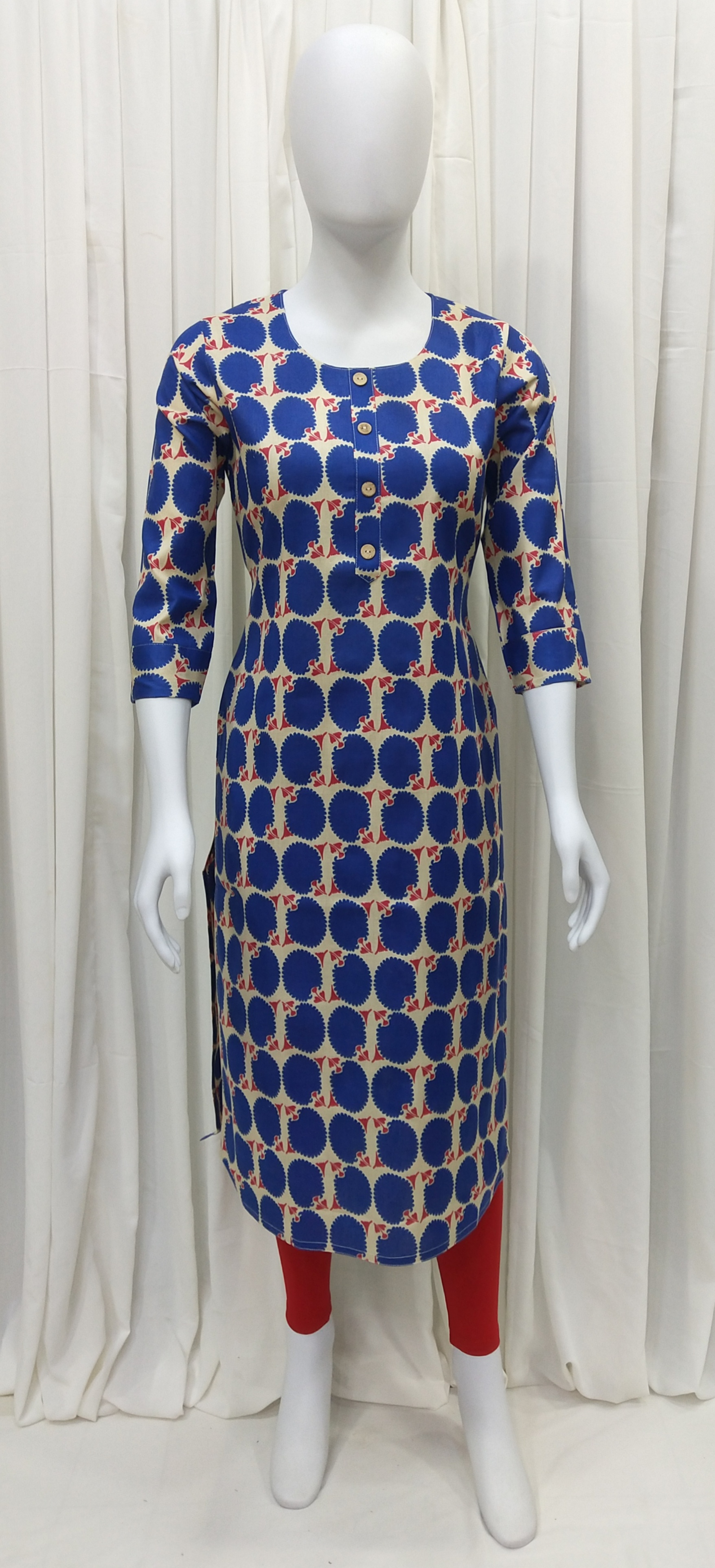 Block Floral Printed Straight Fit Premium Cotton Women Kurti With Mask (M, Royal Blue)