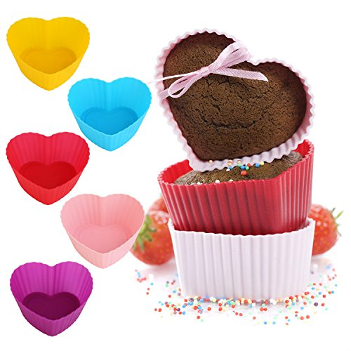 6 PCs Silicone Reusable Cup Cake Muffin Baking Molds - Divena In (Heart)