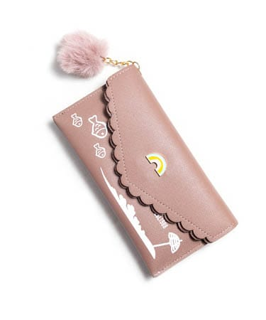 Rainbow Brooch Hand Clutch For Women (FS,Nude Pink)