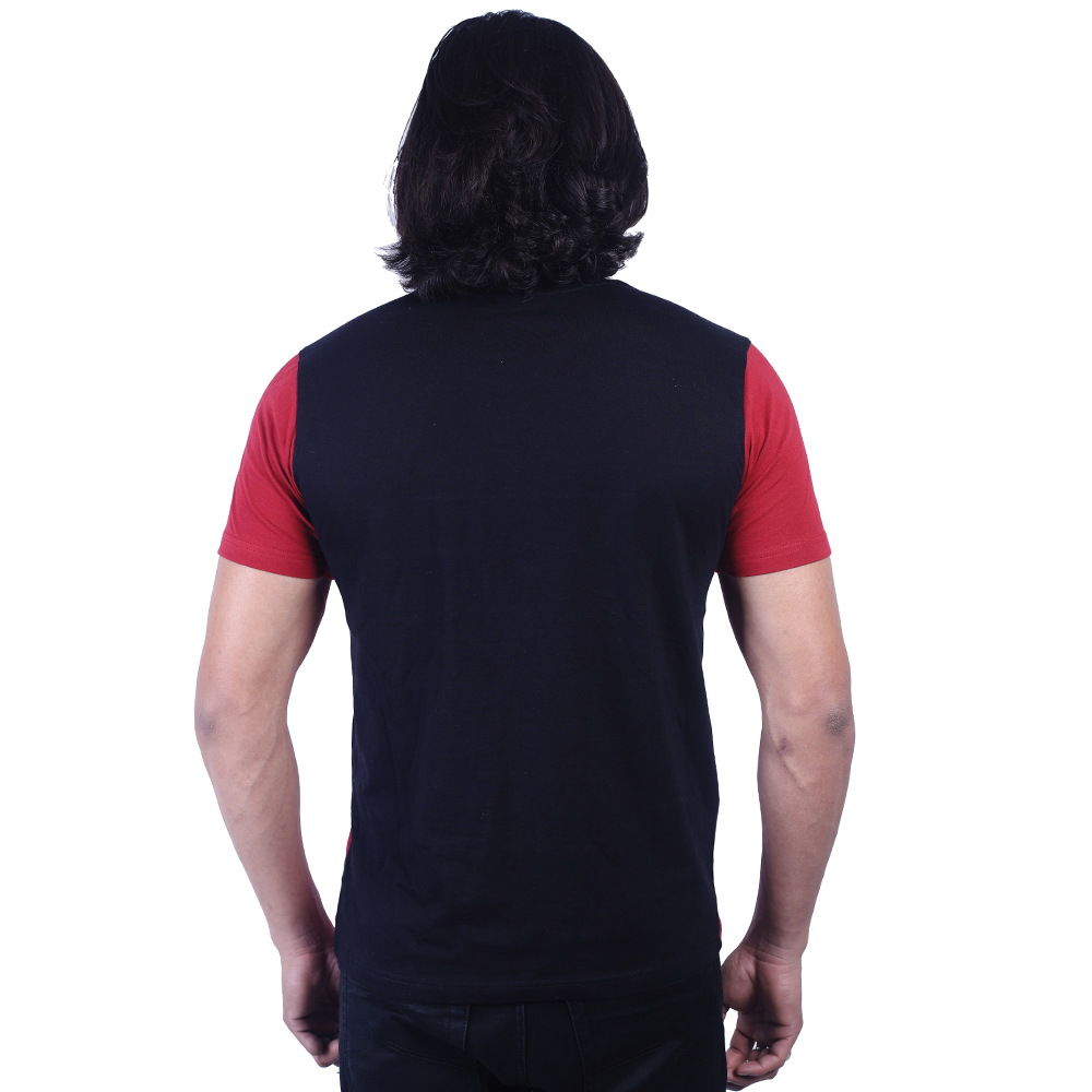 Black And Red Half Sleeve Round Neck T-Shirt For Men