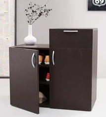 Keira Shoe Cabinet With Drawer In Brown Colour