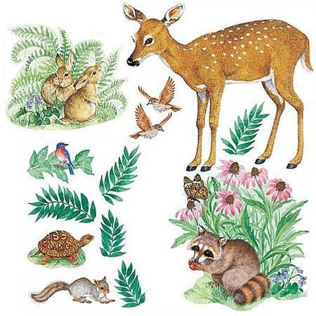 Wallies 15204 Woodland Animals Wallpaper Mural, 2-Sheet