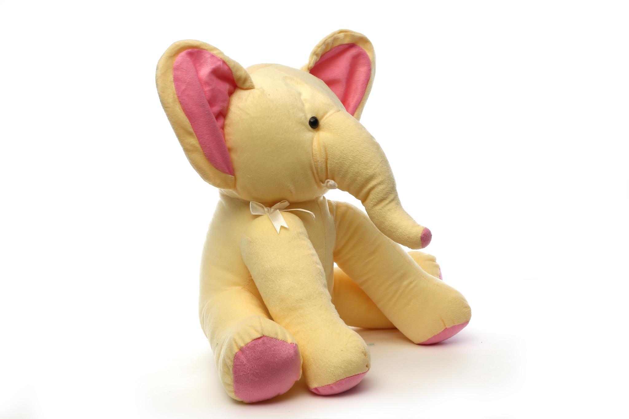 AT-1127-BEIGE SITTING ELEPHANT 45CM