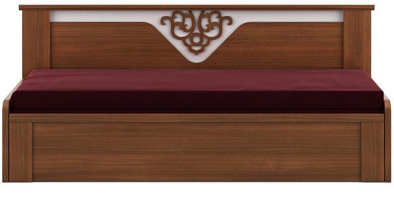 Kosmo Ornate Sofa Cum Bed With Storage In Walnut Finish