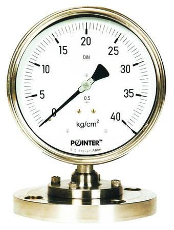 "POINTER-Diaphragm Sealed Pressure Gauge  +  Free Cal. Certificate (0-40 Kg/cm² , 4"" Dial )  ( T/P/PRG/POI/040/001)"