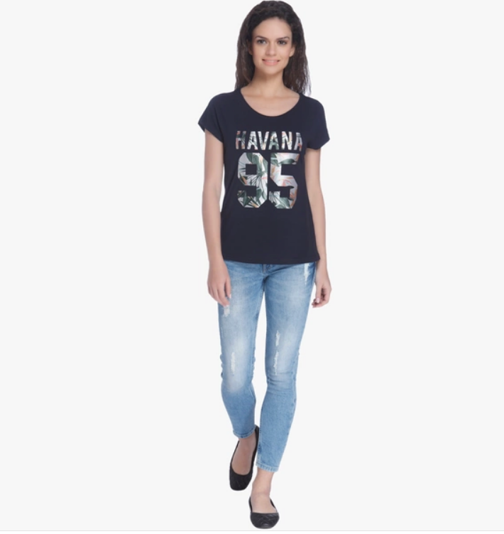Only Navy Blue Printed T Shirt