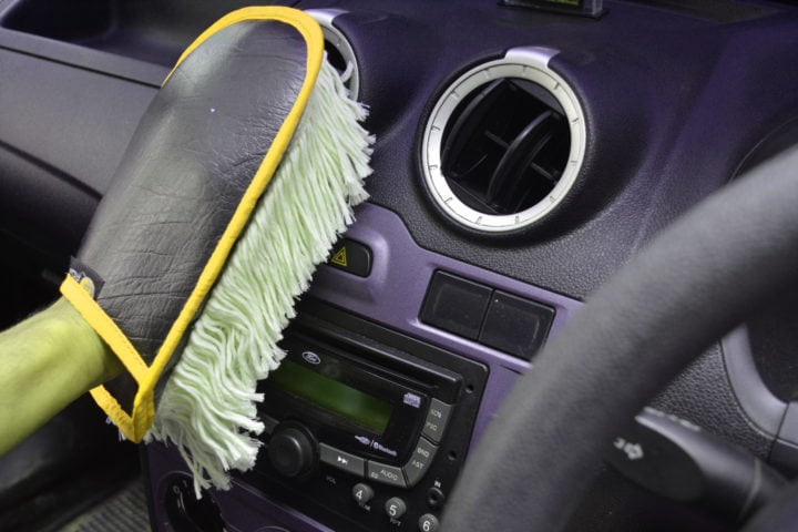 INTIDUST (Interior Cleaning Duster And Polisher Microfiber Cotton Threads, Wax Coated, Fits On Palm, For Easy Holding And Cleaning)