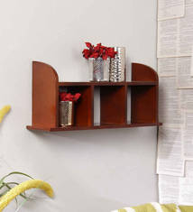 Eleganzze Brown Engineered Wood Wall Shelf With Partitions