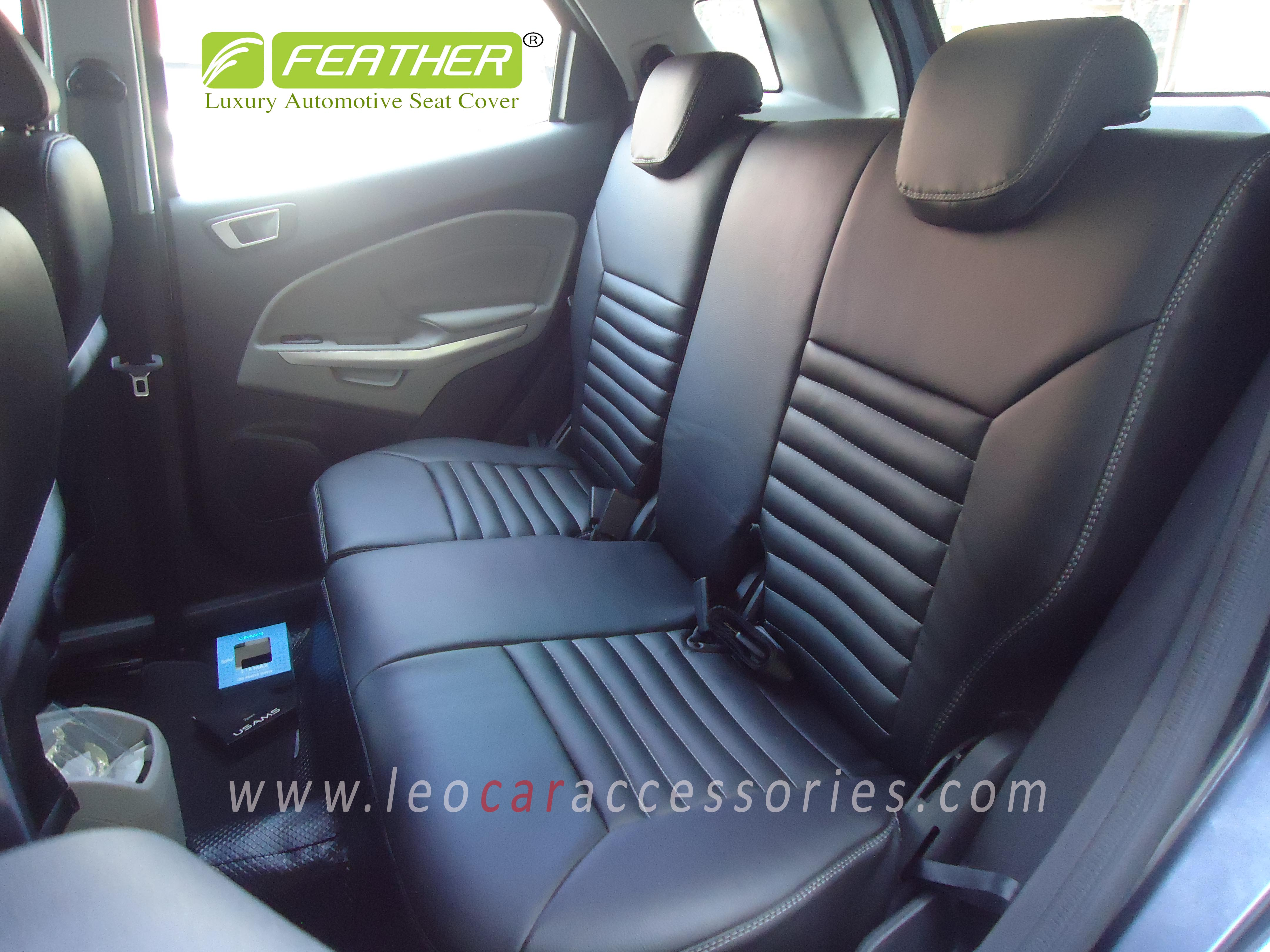 Feather Customized Car Seat Cover For Ford Ecosport Single Color-Black Rib Pattern