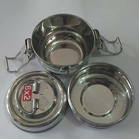 Coconut Stainless Steel Food Carrier 6*2