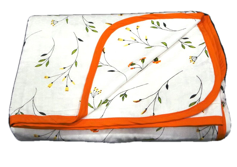 Aamran Dos-Jelly Marigold Floral Dohar With Orange Border