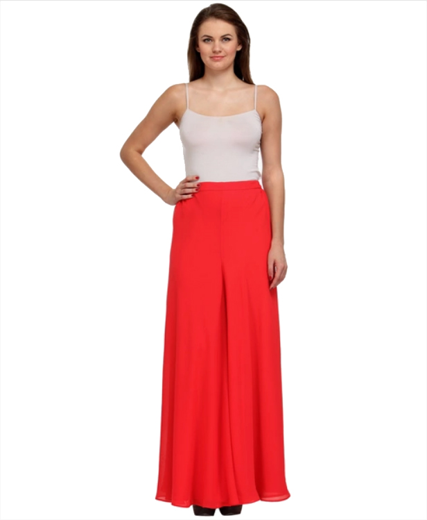 Just Wow Red Solid Palazzo