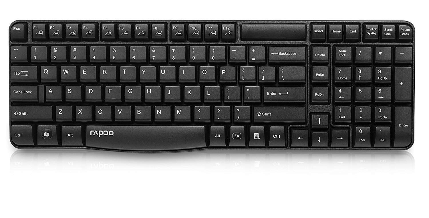 Rapoo E1050 2.4G Anti-Splash Wireless Keyboard (Black)