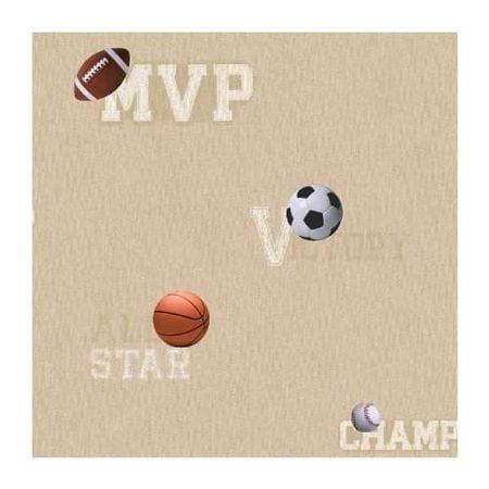 York Wallcoverings Zb3190 Sports Ball Wallpaper, Linen/Off White/Black/Orange/Brown/Red