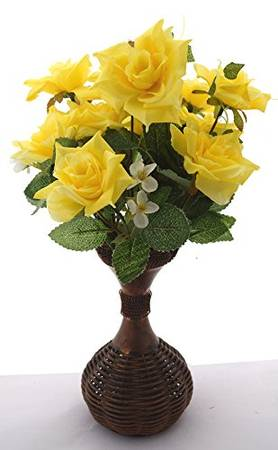 Fourwalls Synthetic Artificial Rose Bouquet In A Plastic Vase 1 Cm