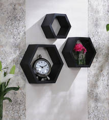Eleganzze Black Mdf Hexagon Shape Wall Shelves