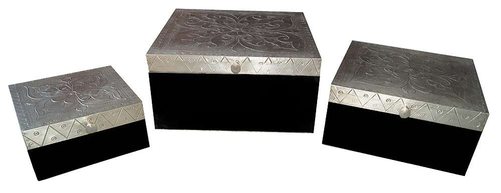 Exclusive Hand Punched White Metal Fitted Wooden Boxes Set Of 3