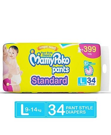 Mamy Poko Pants Standard L Size Diapers - 34 Pc