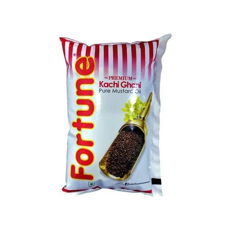 Fortune Pure Kachi Ghani Mustard Oil (Pouch) - 1 Ltr