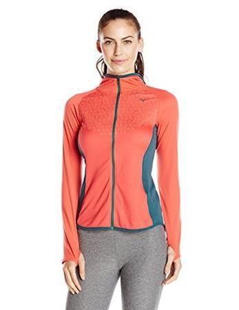 Mizuno Running Women'S Breath Thermo Double Full Zip Hoodie Top  Cayenne/Balsam Medium