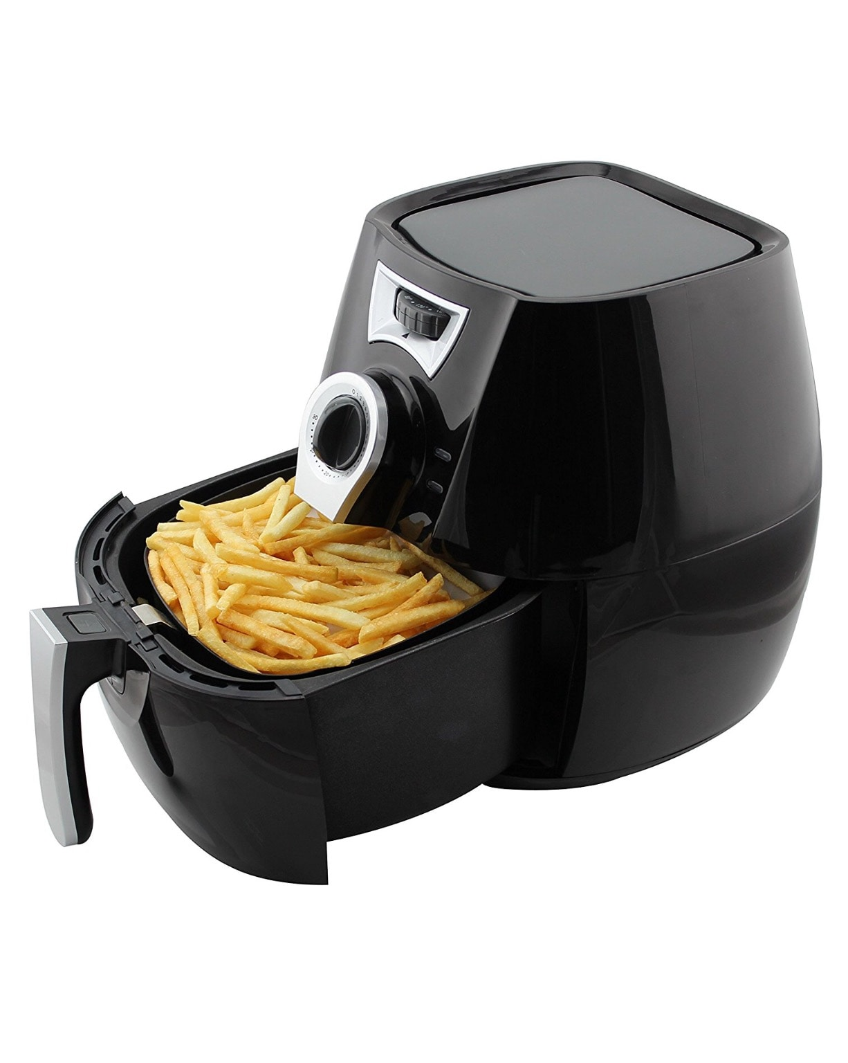 Electric Oil Free Air Fryer Multifunction Programmable Timer,Temperature Control Detachable Basket Air Fryers With Receipts-Black