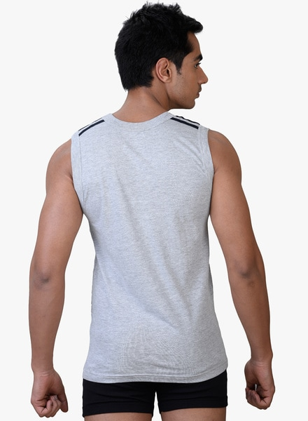 Park Avenue Grey Muscle Tee #AW002 (M,Grey)