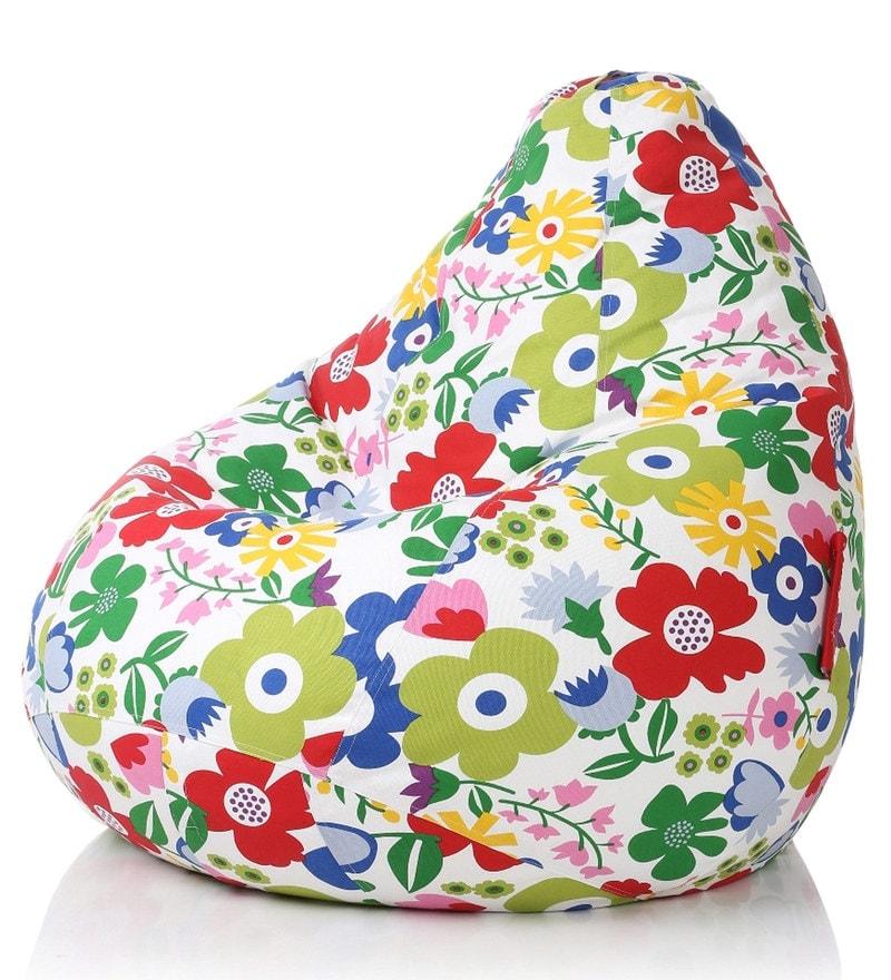 Floral Design XXL Bean Bag Cover In Multicolor