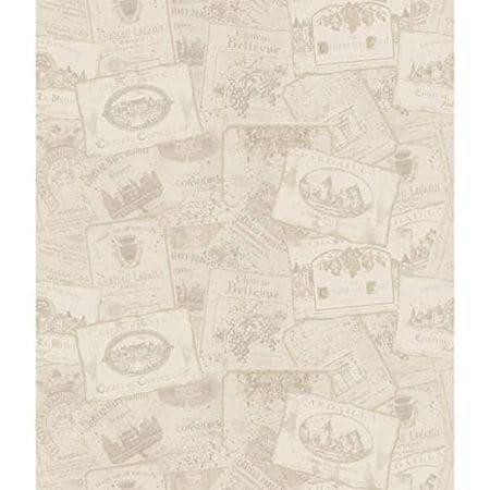 York Wallcoverings American Classics Wine Label Wallpaper Memo Sample, 8 By 10-Inch, Eggshell, Dove Grey, Graphite Grey