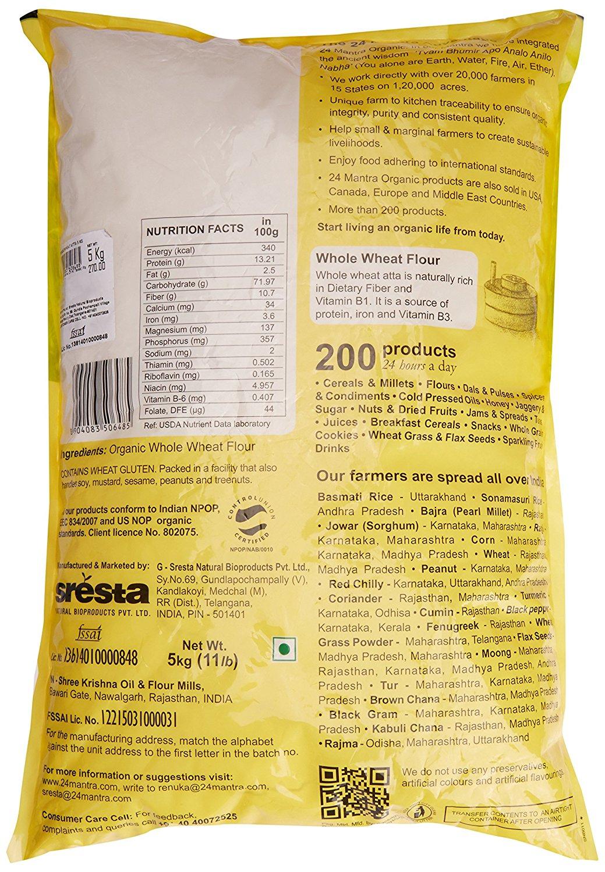 24 Mantra Organic Whole Premium Wheat Flours 5 Kg